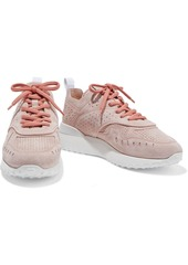 Tod's Woman Perforated Suede Sneakers Blush