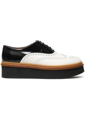Tod's Woman Perforated Two-tone Leather Platform Brogues White