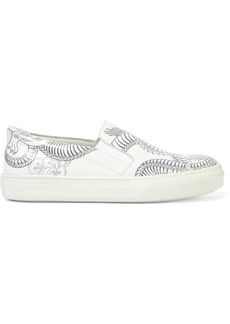 Tod's Woman Printed Leather Slip-on Sneakers White