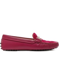 Tod's Woman Gommino Embellished Quilted Suede And Leather Loafers Magenta