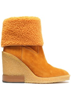 Tod's Woman Shearling Wedge Ankle Boots Camel