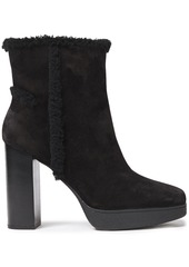 Tod's Woman Shearling-trimmed Suede Platform Ankle Boots Black