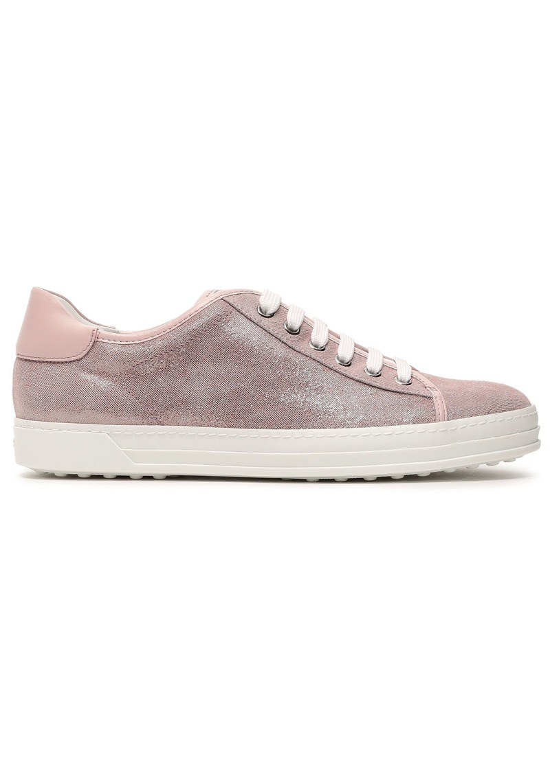 Tod's Woman Leather-trimmed Glittered Suede Sneakers Blush