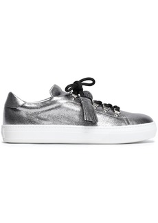 Tod's Woman Sportivo Xk Metallic Cracked-leather Sneakers Silver