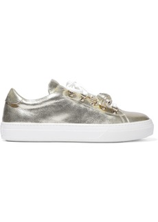 Tod's Woman Sportivo Xk Metallic Cracked-leather Sneakers Gold