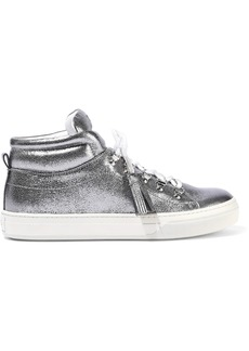 Tod's Woman Sportivo Xk Metallic Leather High-top Sneakers Silver