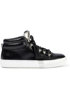 Tod's Woman Sportivo Xk Metallic-trimmed Leather High-top Sneakers Black