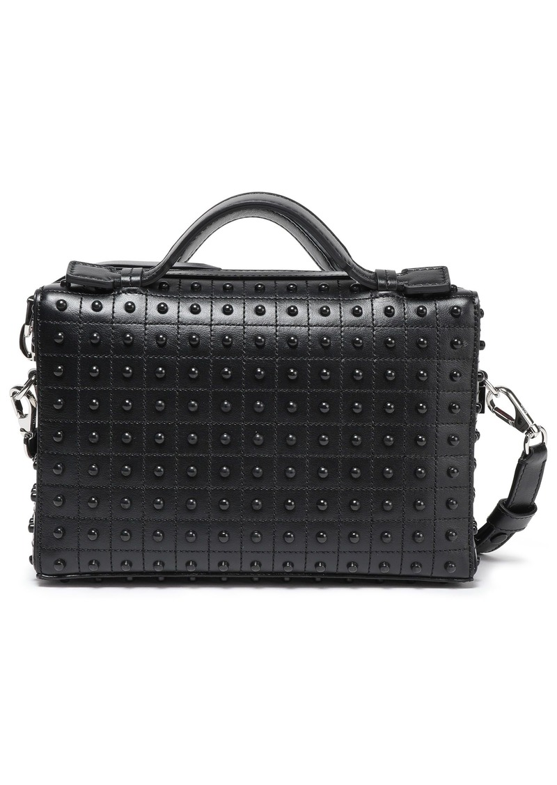 Tod's Woman Studded Leather Shoulder Bag Black