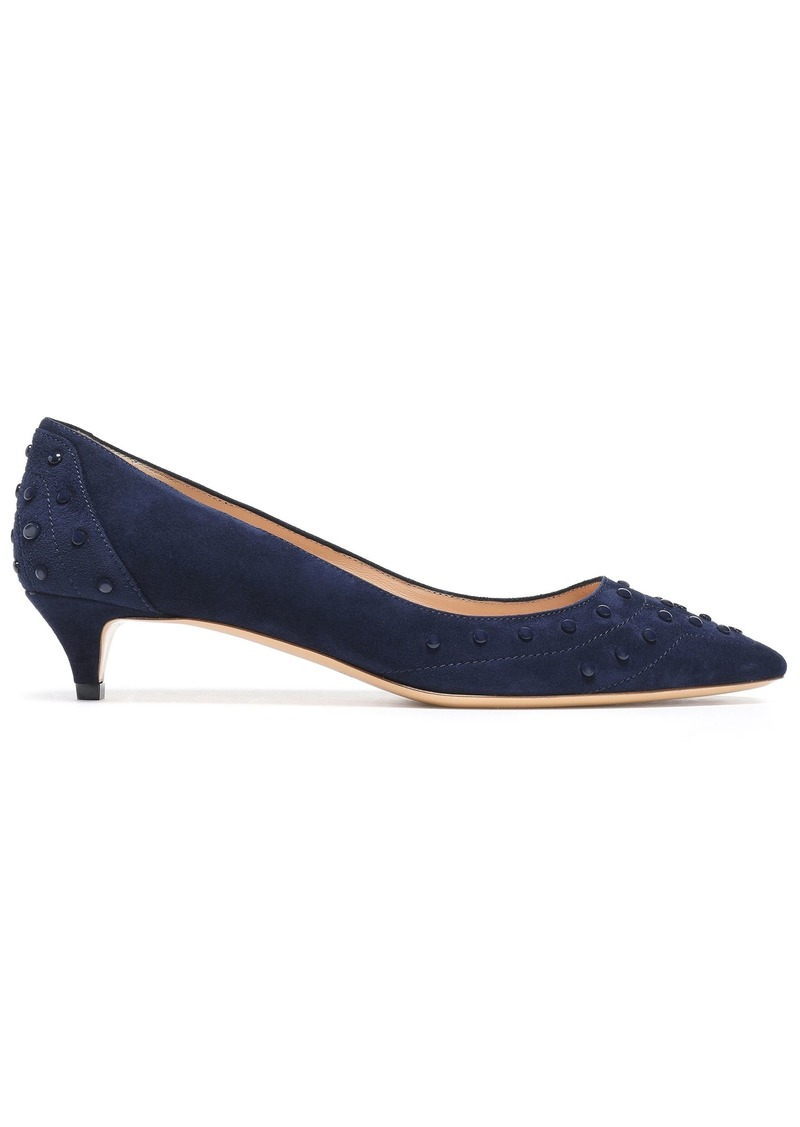Tod's Woman Studded Suede Pumps Navy