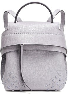 Tod's Woman Studded Textured-leather Backpack Lilac