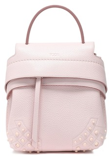 Tod's Woman Studded Textured-leather Backpack Pastel Pink