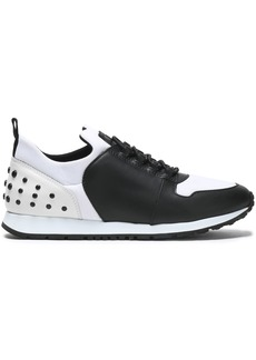 Tod's Woman Studded Two-tone Leather And Shell Sneakers White