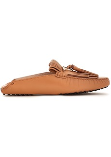 Tod's Woman Tasseled Fringed Leather Slippers Camel