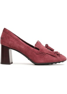 Tod's Woman Tasseled Fringed Suede Pumps Grape