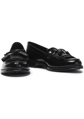 Tod's Woman Tasseled Glossed-leather Loafers Black