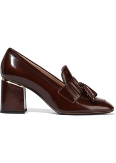 Tod's Woman Tasseled Glossed-leather Pumps Brown