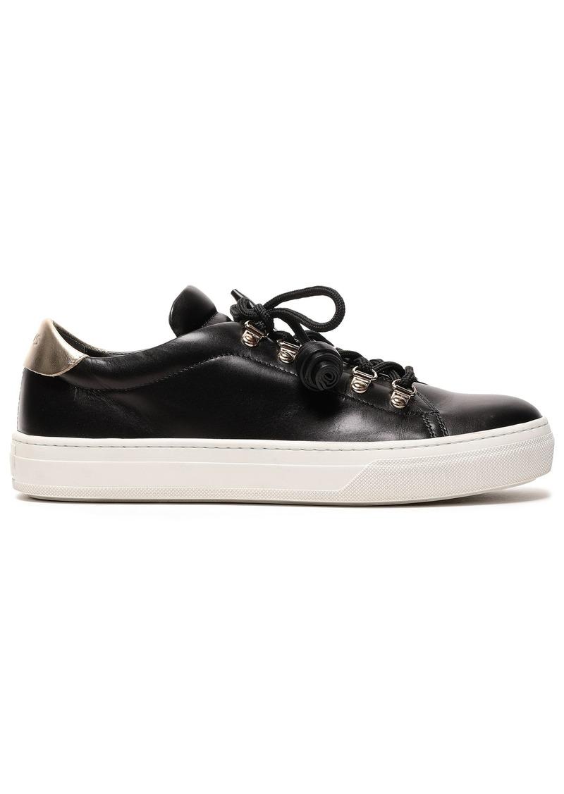 Tod's Woman Tasseled Leather Sneakers Black