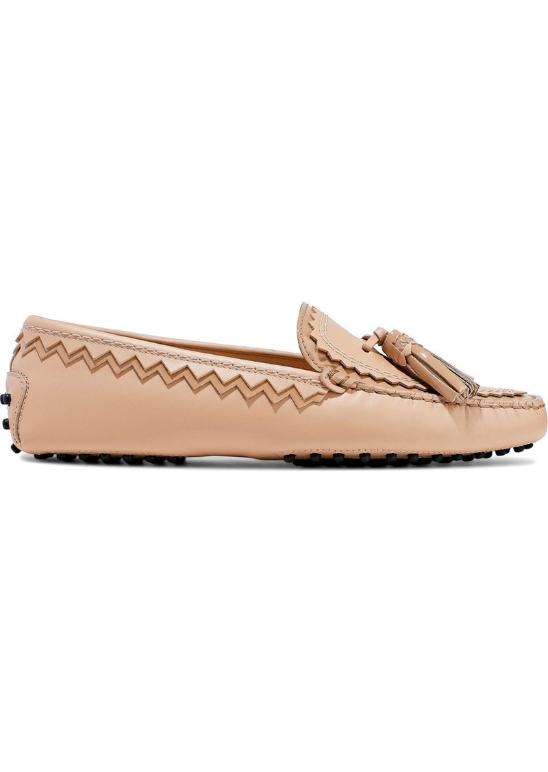Tod's Woman Patent-trimmed Leather Moccasins Blush