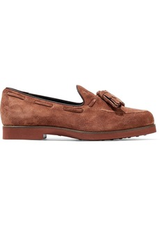 Tod's Woman Tasseled Suede Loafers Light Brown