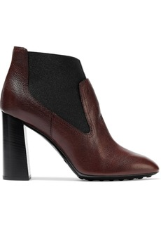 Tod's Woman Textured-leather Ankle Boots Brown