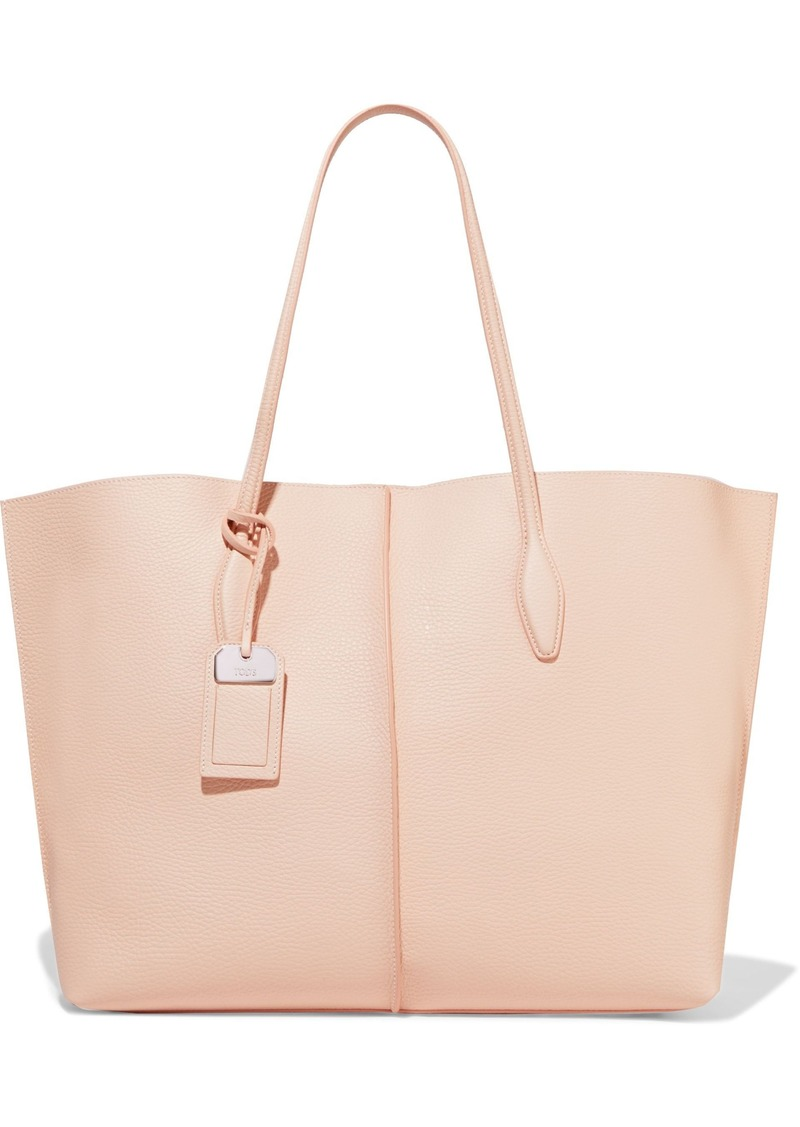 Tod's Woman Textured-leather Tote Pink