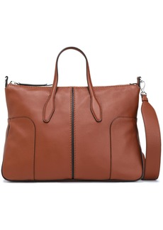 Tod's Woman Pebbled-leather Tote Brown