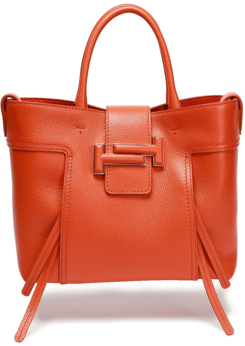 Tod's Woman Textured-leather Tote Orange