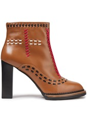 Tod's Woman Gomma Gypsy Whipstitched Leather Ankle Boots Light Brown