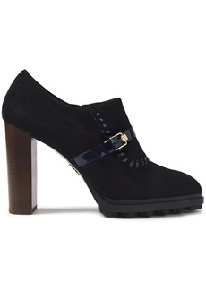 Tod's Woman Whipstitched Patent Leather-trimmed Suede Ankle Boots Black