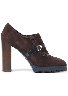 Tod's Woman Whipstitched Patent Leather-trimmed Suede Ankle Boots Chocolate