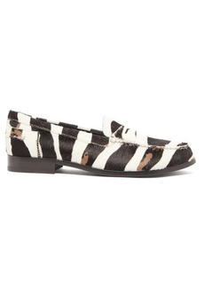 Tod's X Alber Elbaz zebra-stripe calf hair loafers