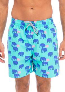 TOM & TEDDY Elephant-Print Swim Trunks