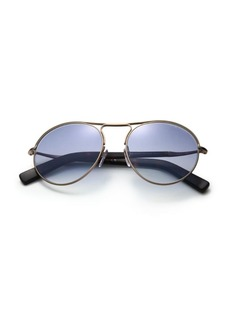 Tom Ford 54MM Brushed Metal Round Sunglasses