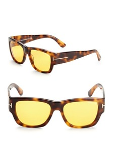 Tom Ford 54MM Rectangular Tortoiseshell Sunglasses
