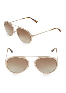 Tom Ford 60MM Goldtone Aviator Sunglasses