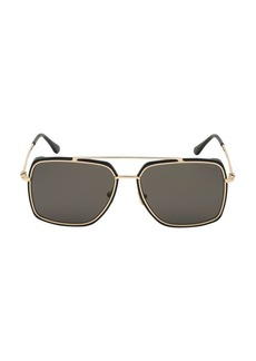 Tom Ford 60MM Square Metal Sunglasses