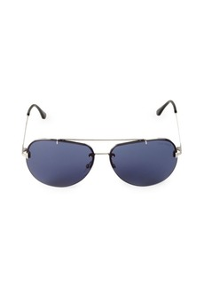 Tom Ford 63MM Silvertone Aviator Sunglasses