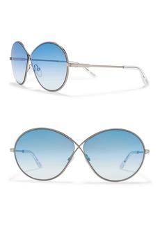 Tom Ford 64mm Round Metal Sunglasses