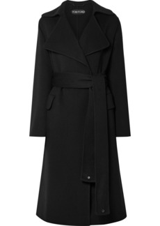 Tom Ford Belted Leather-trimmed Cashmere Coat