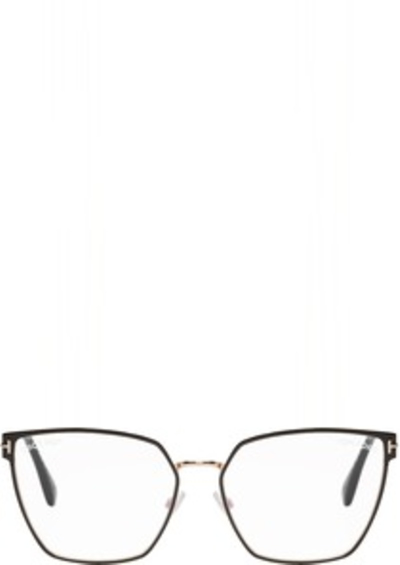 Tom Ford Black & Gold Blue Block Thin Angular Glasses