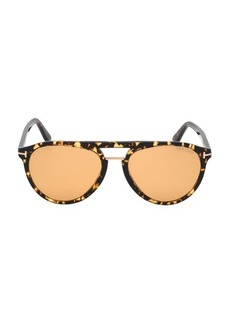 Tom Ford Burton 57MM Rounded Havana Sunglasses