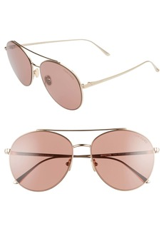 Tom Ford Cleo 59mm Round Aviator Sunglasses
