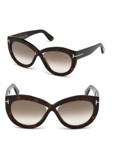 Diane 56MM Cat-Eye Cross Front Sunglasses