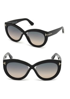 Diane 56MM Cat-Eye Cross Front Sunglasses