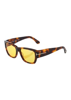 Tom Ford Havana Rectangle Plastic Sunglasses