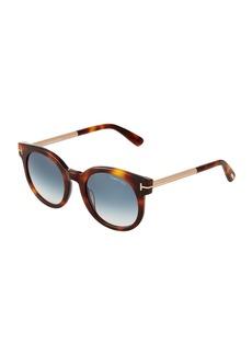 Tom Ford Havana Round Plastic/Metal Sunglasses