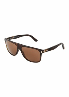 Tom Ford Idigo Square Havana Acetate Sunglasses
