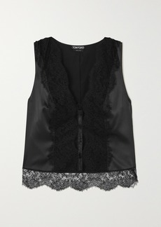 Tom Ford Lace-paneled Silk-blend Charmeuse Top