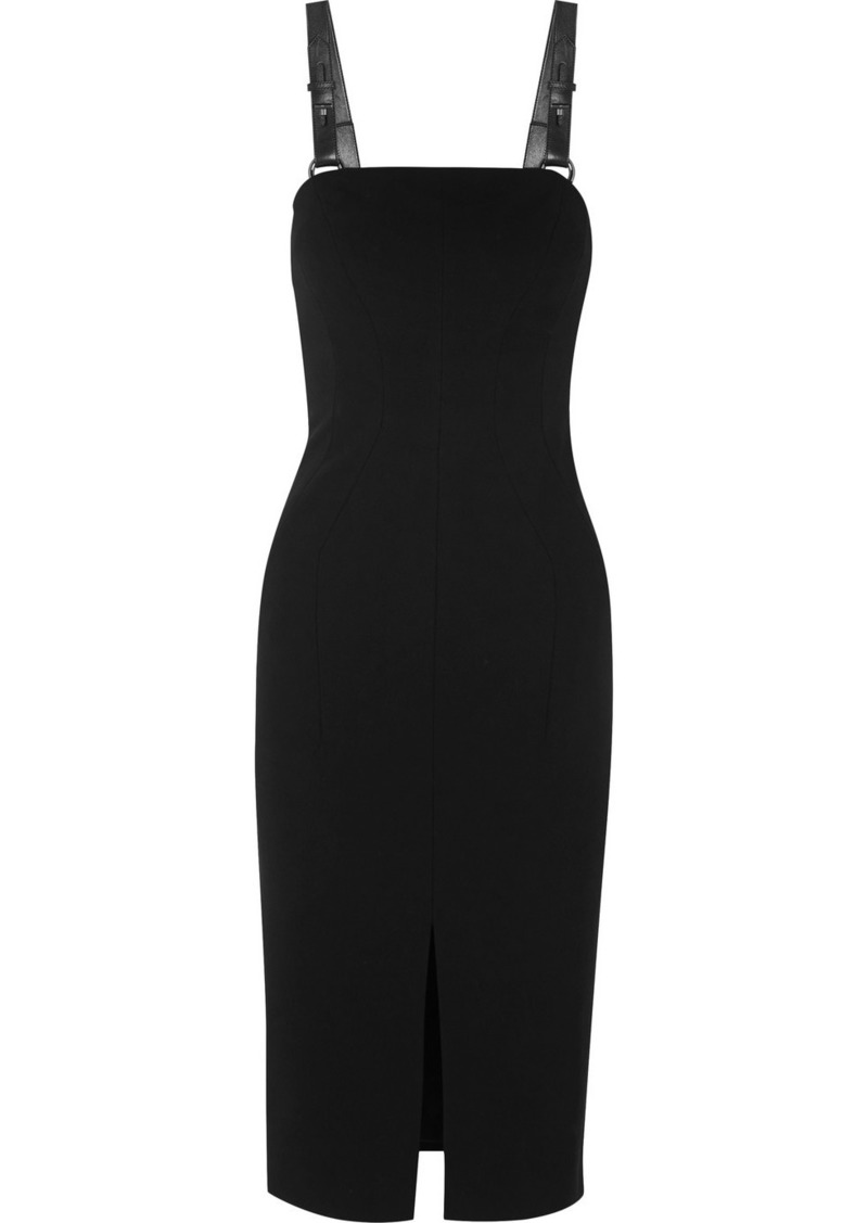 Tom Ford Leather-trimmed Stretch-crepe Midi Dress