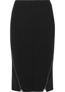 Tom Ford Leather-trimmed Wool-blend Midi Skirt